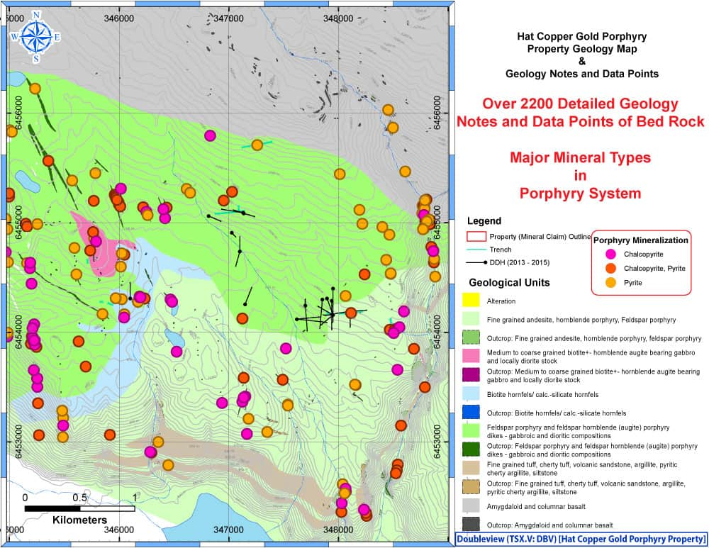 Bed Rock Geology & Key Sulphide Mineralization / Distribution – Doubleview Capital Corp.